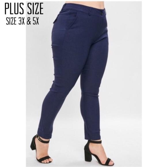Pants - Plus Size Navy High Waist Pants